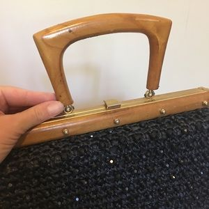 Vintage Bags - Vintage Gaymode Beaded Black Purse w/ Wood Handle